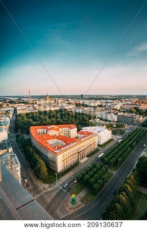 Riga, Latvia. Riga Cityscape. Top View Of Buildings Ministry Of Justice, Supreme Court, Cabinet Of Ministers And Freedom Boulevard Street In Summer Evening. Aerial View