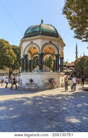 ISTANBUL, TURKEY - SEPTEMBER 13, 2017: The German Fountain is a landmark in the historic center of the city which was presented by the Germany in the 19th century.