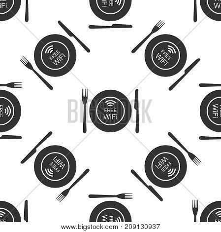 Restaurant Free Wi-Fi zone. Plate, fork and knife icon seamless pattern on white background. Flat design. Vector Illustration