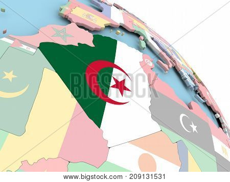 Flag Of Algeria On Globe