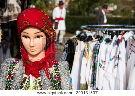 Romanian Traditional Costume On Mannequin And Hangers