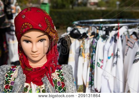 Traditional Romanian Costume On Mannequin And Hangers