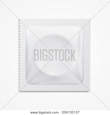 Realistic 3d Detailed Template Blank White Condom Package Contraception Method . Vector illustration of Mock Up Symbol Control Risk