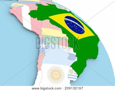 Flag Of Brazil On Globe