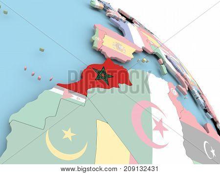 Flag Of Morocco On Globe