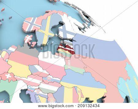 Flag Of Latvia On Globe