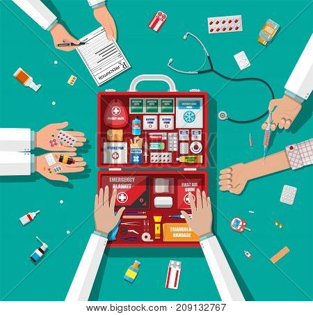 Workflow of physicians. First aid kit with medical equipment and medications. Healthcare, hospital and medical diagnostics. Urgency and emergency services. Vector illustration in flat style