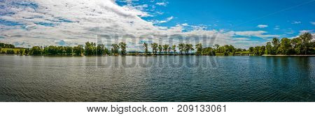 Panoramic Quaker Smith Point at Lake Champlain