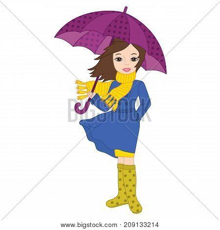 Vector beautiful young girl holding umbrella. Vector autumn girl. Autumn girl vector illustration