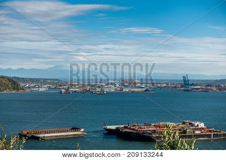 A view of the Port of Tacoma and Mount Rainier.