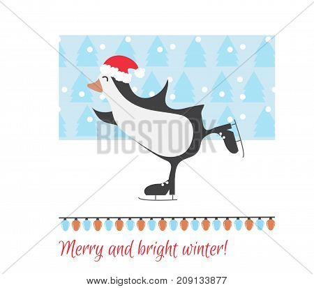 Christmas greeting card with penguin. Merry Christmas and Happy New Year