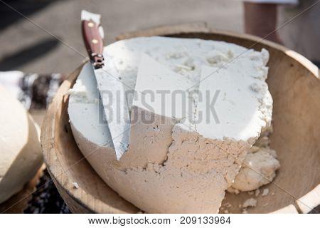 Handmade Farm Cheese In Farmer's Market