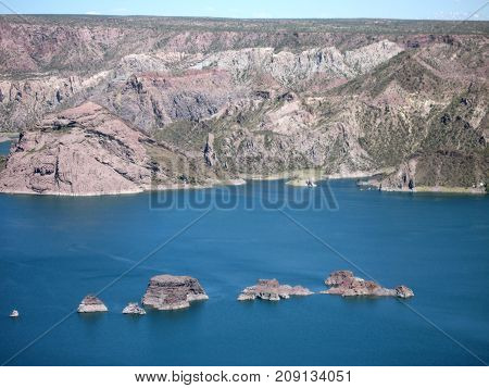 Lake with islands and mountains in Argentina