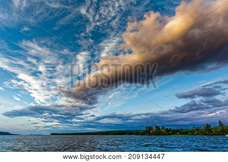 Dramatic sky with clouds pattern at Lake Champlain