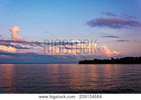 View of Converse Bay Lake Champlain at sunset