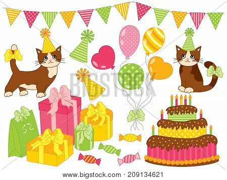 Vector birthday party set. Set includes cute cats, cake, candles, hats, balloons, sweets, gift boxes and bunting. Birthday party elements vector illustration