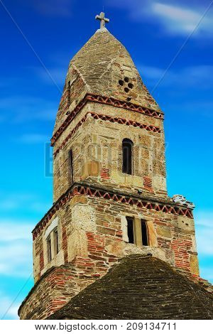 the tower of Densus church in Hunedoara romania