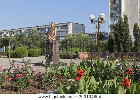 Evpatoria, Republic of Crimea, Russia - July 21, 2017: Bust to Sergei Leonidovich Sokolov in the square named after Marshal Sokolov in the city of Evpatoria