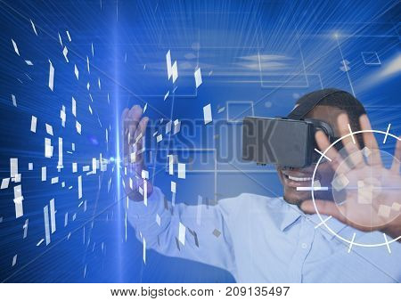 Digital composite of young man using vr headset