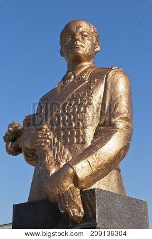Evpatoria, Republic of Crimea, Russia - July 21, 2017: Bust to Sergei Leonidovich Sokolov against the blue sky in the city of Evpatoria
