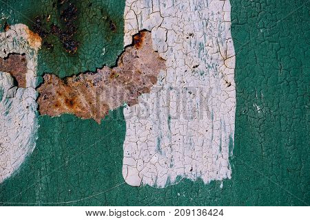 Rusty Metal Surface With Cracked Green Paint, Abstract Rusty Metal Texture, Green Rusty Metal Backgr