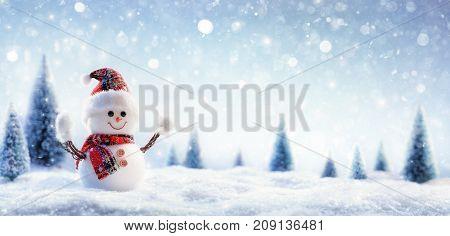 Happy Snowman In Wintry Landscape - Christmas Card