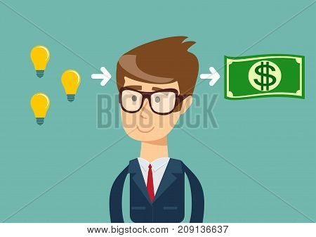 businessman makes money from idea.concept. Stock flat vector illustration.