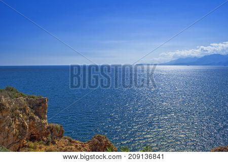 Panoramic view on Mediterranean Sea from a cliff. Antalya Turkey.