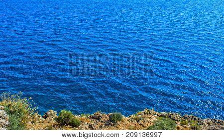 View on Mediterranean Sea from a cliff. Antalya Turkey.