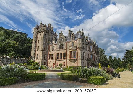 BELFAST, NORTHERN IRELAND, UK - AUGUST 24, 2016: Belfast castle. Tourist attraction at Cavehill Country Park in Belfast Northern Ireland