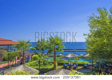 ANTALYA, TURKEY - Oct 3, 2017: Panoramic view on the Mediterranean Sea from a restaurant.