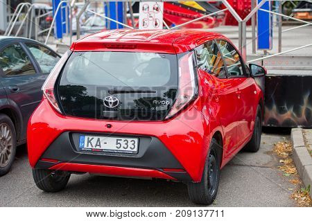 LITHUANIA, KLAIPEDA - AUG 12, 2017: Toyota Aygo (AB40) car. The Toyota Aygo is a city car sold by Toyota in Europe since 2005. The name