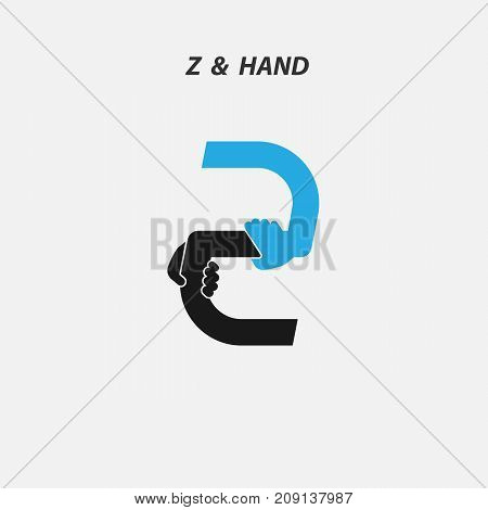Z - Letter abstract icon & hands logo design vector template.Italic style.Business offer, Partnership, Hope, Help, Support or Teamwork sign.Corporate business & education logotype symbol.Vector illustration