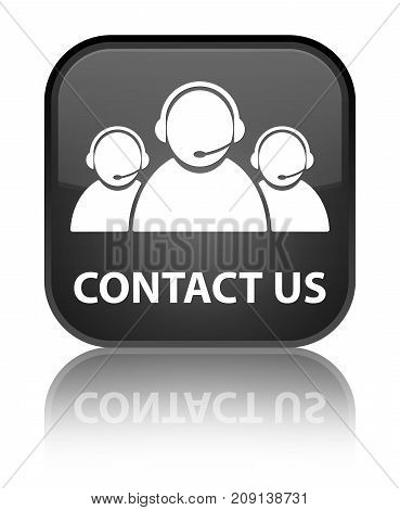 Contact Us (customer Care Team Icon) Special Black Square Button
