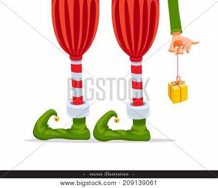 Elf's legs and Elf's hand with a gift. Creative Christmas composition. Humorous xmas collection. Festive background. Vector illustration.