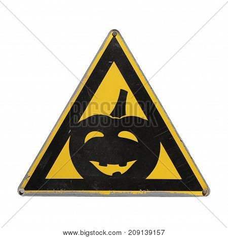 Mr. pumpkin happy Halloween. Sign stop humor. Warning danger. Yellow triangle. Isolated
