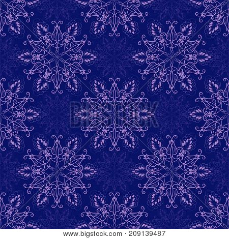 Seamless Floral Mandala Pattern over dark blue color. Seamless pattern for your designs, invitation card, yoga, meditation, astrology and other wrapped projects.