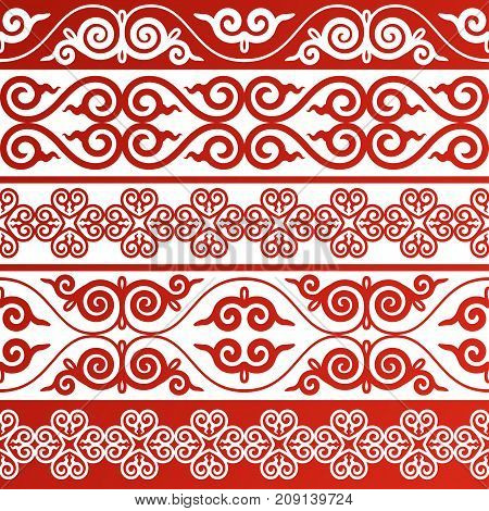 Set of vector border ornament typical for Asian peoples