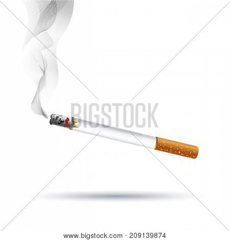 Realistic Cigarette with Traditional Filter Vector Illustration