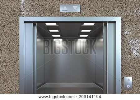Empty Elevator Cabin Wit Open Doors