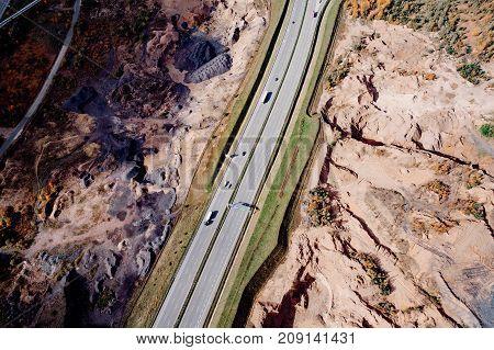 Aerial View Of Motorway At Autumn