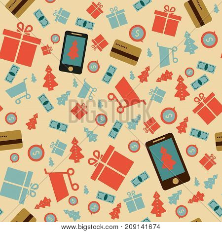 Mobile online store smartphone cart : concept of mobile phone order purchase internet shop showcase ecommerce. seamless pattern.