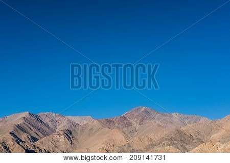 Landscape mountain with blue sky at ladakh India