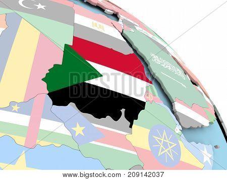 Flag Of Sudan On Globe
