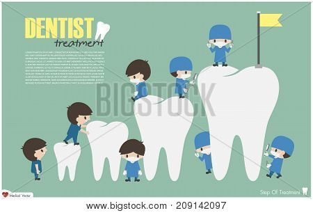 Dentists Climb To Top Of Teeth ( Success And Attempt Concept ) . Vector . Flat Design
