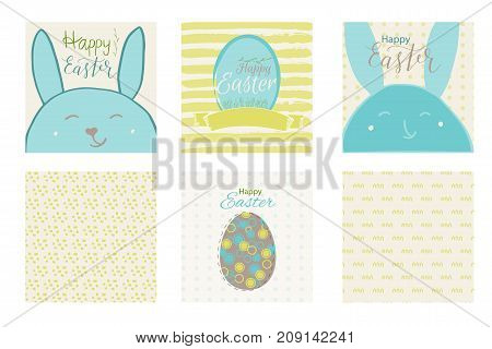 Colorful Happy Easter Greeting Card With Rabbit, Bunny And Text.