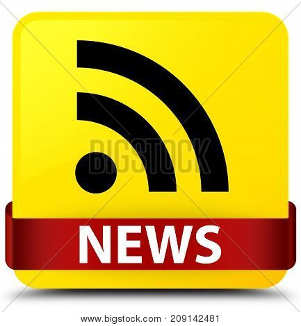 News (rss Icon) Yellow Square Button Red Ribbon In Middle