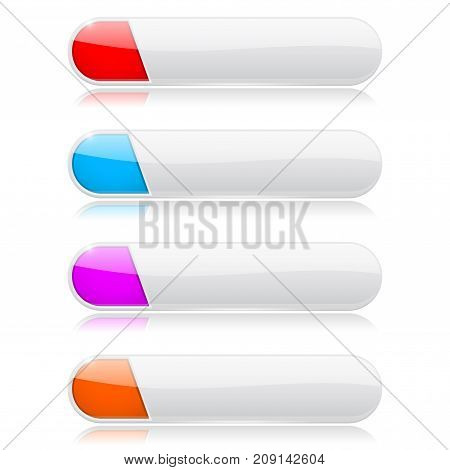 White oval buttons with colored tags. Menu interface elements. Vector 3d illustration isolated on white background