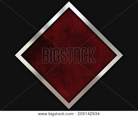 Carbon fibre background with a grunge red texture and brushed metal frame