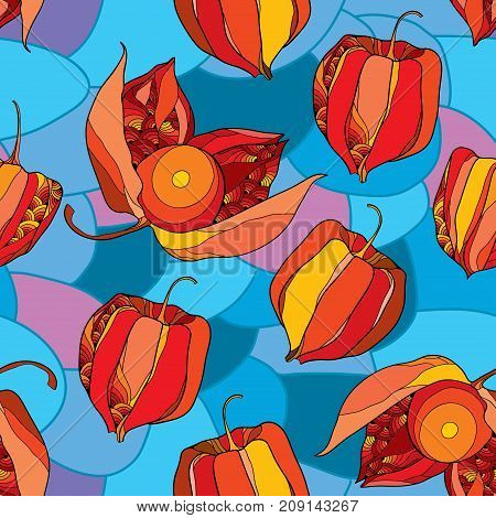 Vector seamless pattern with outline Physalis or Cape gooseberry or Ground cherry fruits on the blue mosaic background. Pattern with Physalis plant in contour style for autumn design.